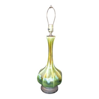 Vintage Mid-Century Modern Green Drip Glaze Table Lamp