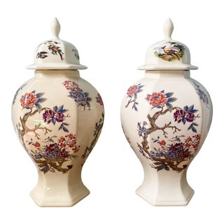20th Century Off-White and Pink Floral and Bird Ginger/ Temple Jars - a Pair For Sale