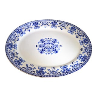 1880s Antique English Blue and White Platter For Sale