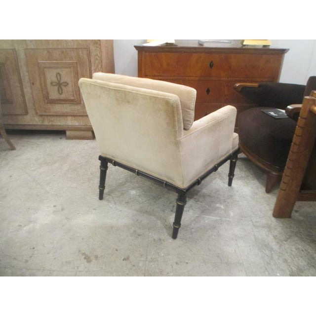 Asian Pair of Upholstered and Ebonized Faux-Bamboo Armchairs For Sale - Image 3 of 5