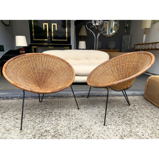 1950s Rattan Basket Armchairs - a Pair For Sale - Image 11 of 13