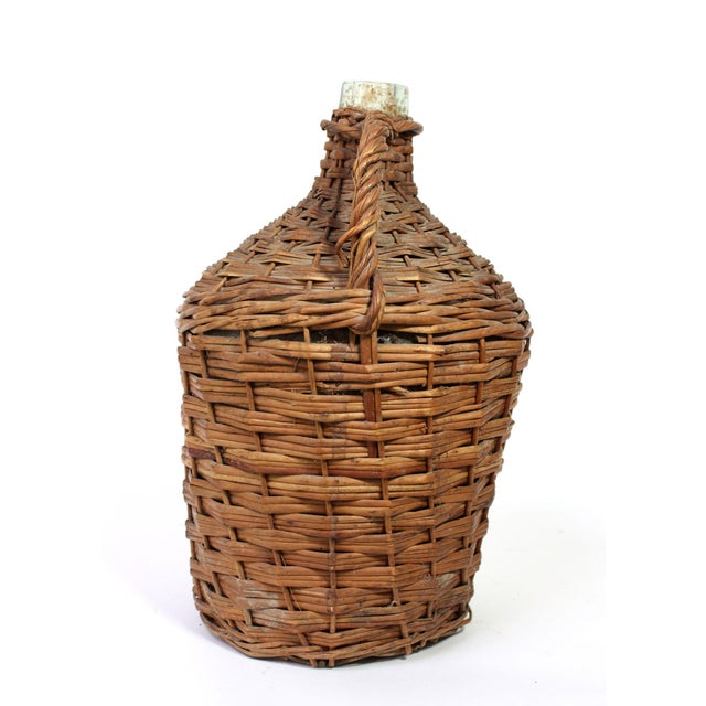 French Provincial Antique Wicker Covered Glass Wine Jug With Handle For Sale - Image 3 of 5