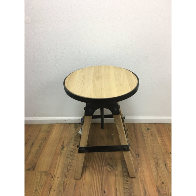 Metal Noir Solid Wood & Black Steel Swivel Stool For Sale - Image 7 of 13