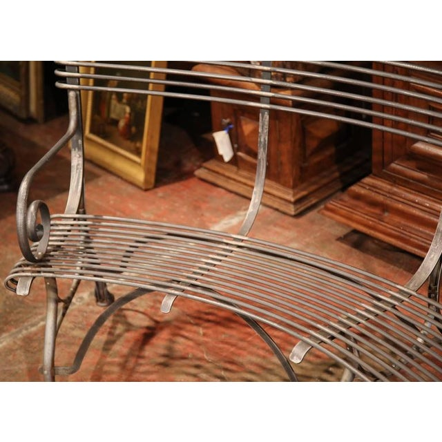 Metal French Polished Iron Hoof Foot Curved Bench Signed Sauveur Arras For Sale - Image 7 of 10