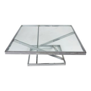 Chrome Milo Baughman Coffee Table for Thayer Coggin For Sale