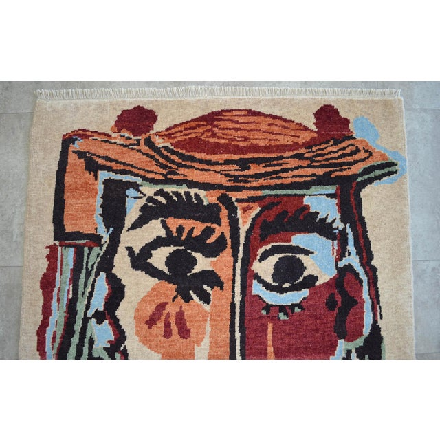 2010s Pablo Picasso - Bust of a Woman - Inspired Hand Knotted Area Rug - Wall Rug 4′ × 5′5″ For Sale - Image 5 of 10