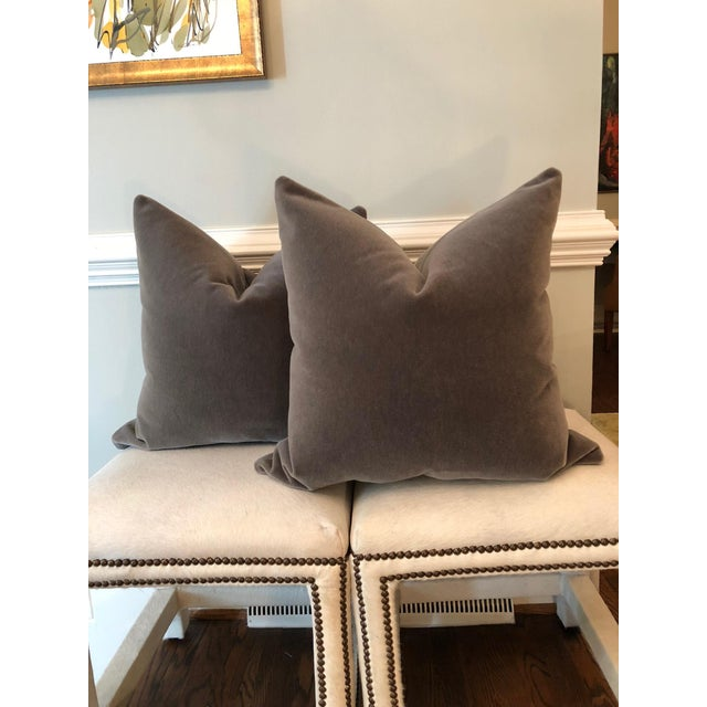 "Mink Brown Mohair Pillows - 22"" x 22"" - A Pair - Image 2 of 5"