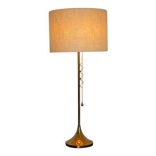 1960s Mid Century Modern Rare Sculptural Laurel Brass Table Lamp Original Shade
