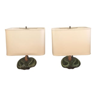 Heifetz Deep Green Biomorphic Ceramic Lamps - A Pair