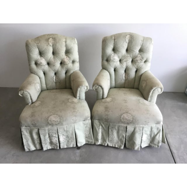 Vintage Rolled Arm Upholstered Chairs - a Pair For Sale - Image 9 of 9