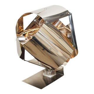 Chromed Metal Sculptural Table Lamp For Sale