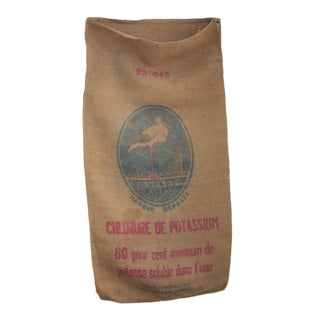 Printed Burlap Sack Vintage French Jute Hessian Fertilizer Bag With Stork Design For Sale