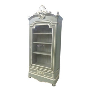 French Victorian Gray & Cream Bookcase
