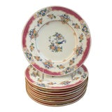 Image of Antique Mintons English Pink and Blue Bird Luncheon Plates- Set of 10 For Sale