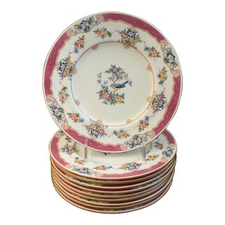 Antique Mintons English Pink and Blue Bird Luncheon Plates- Set of 10 For Sale