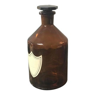 Amber Glass Bottle With Stopper From England Circa 1900 For Sale