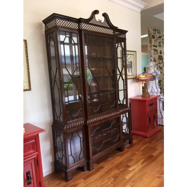 Stunning Chippendale Style for Baker Fine Furniture of solid mahogany federal breakfront with Chinoiserie pattern and hand...