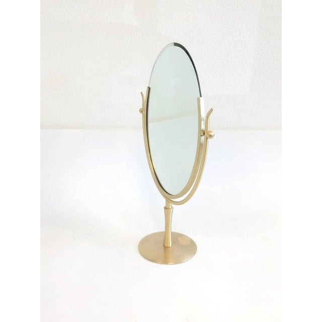 1970s Satin Brass and Leather Vanity Mirror by Charles Hollis Jones For Sale - Image 5 of 11
