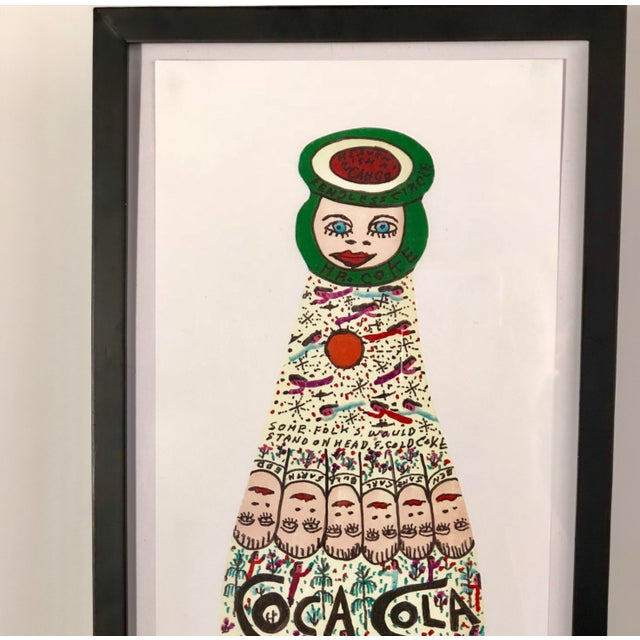 Perfect for an art wall! Vertical Coca Cola print by Georgia Folk Artist Howard Finster held under glass in a ready made...