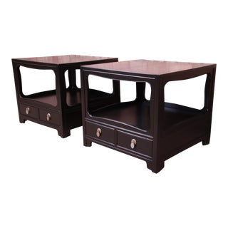 Michael Taylor for Baker Far East Collection Ebonized Nightstands or End Tables, Newly Restored For Sale
