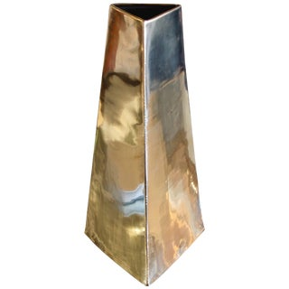 James Johnston Modernist Brass Vase Signed For Sale
