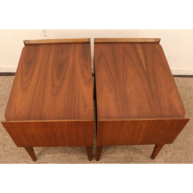 Lane Mid-Century Danish Modern Walnut Nighstands- A Pair - Image 6 of 11