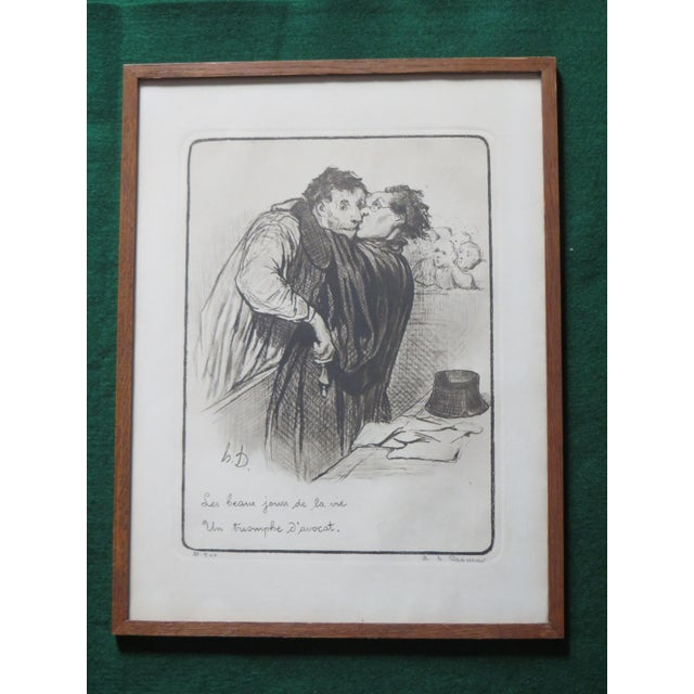 French Honore Daumier Caricatures Framed & Matted Prints - A Pair For Sale - Image 3 of 10