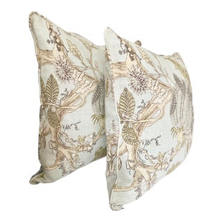 """Pair of Anglo-Indian Jacobean Print Linen Decorative Euro 22"""" Sq Pillow Covers For Sale"""