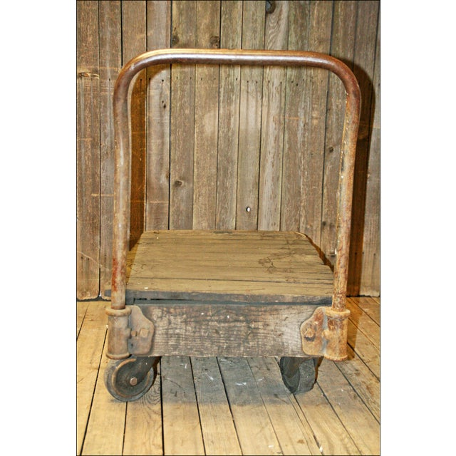 Vintage Industrial Rolling Wood Hand Cart - Image 9 of 11