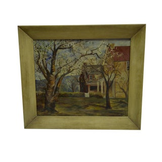 "Original ""Country Yard"" Framed Painting on Board by B. Scott, 1952"