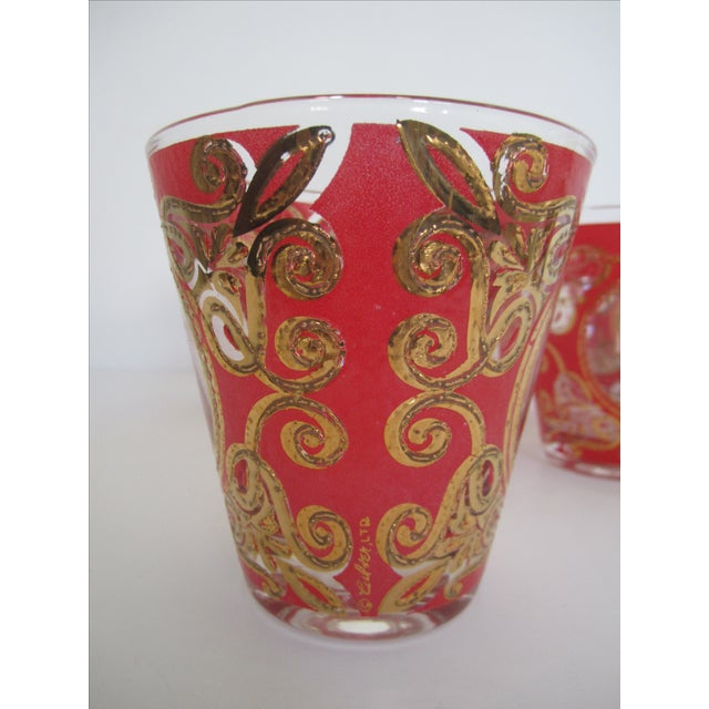 Culver 1970s Red & Gold Rocks Glasses - Set of 10 - Image 7 of 11