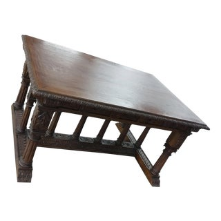 "19th Century ""Heavily Carved Oak"" Renaissance Library Table For Sale"
