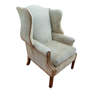 Vintage Suede Wingback Chair For Sale