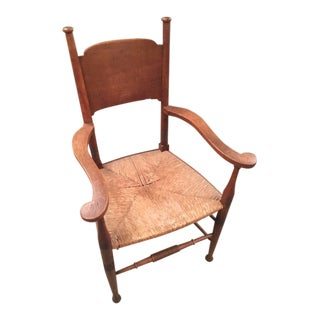 1920s Vintage Arts and Crafts English Oak Chair For Sale