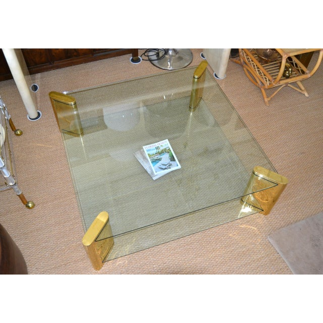 1970s Karl Springer Mid-Century Modern Brass & 2-Tier Glass Coffee Table, Signed For Sale - Image 5 of 13