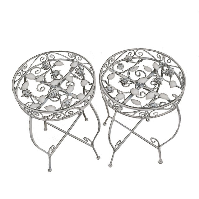Palm Springs Regency White Iron Rose Bud Decorated Side Tables - a Pair For Sale - Image 12 of 12