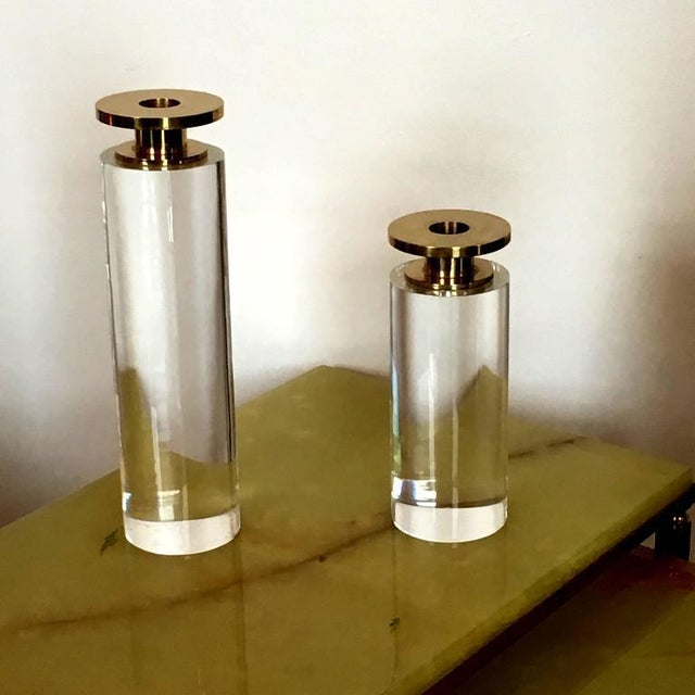Pair of Brass and Lucite Candleholders - Image 4 of 6