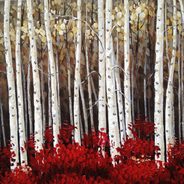 Contemporary Aspens in Bloom Painting For Sale - Image 3 of 8