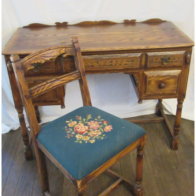 The desk, chair and mirror set was produced by the Jamestown Lounge Company of Jamestown, New York. The furniture company...