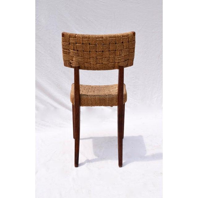 Teak Mid Century Modern Side Desk Rope Chair For Sale - Image 9 of 12