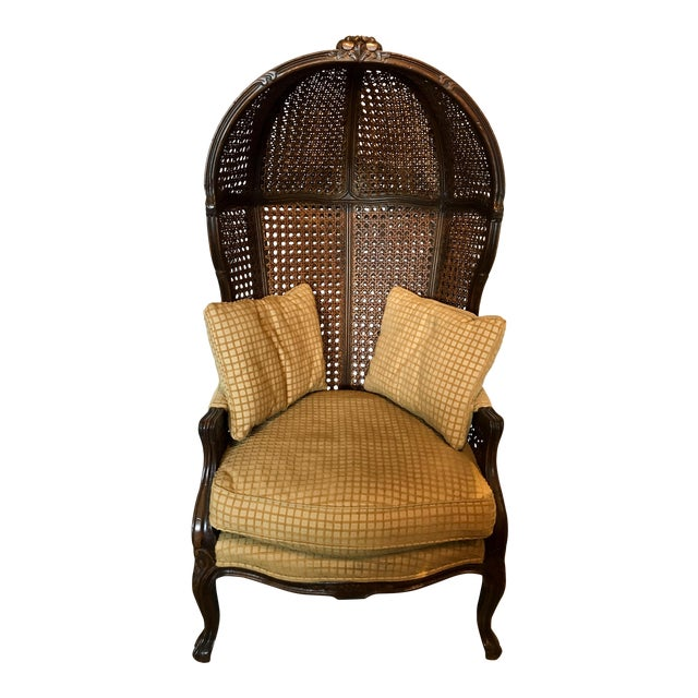 Mariano Garcia Cane Hooded Porter's Chair For Sale
