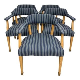 Ralph Lauren Home Modern Klismos Style Upholstered Indigo Stripe Arm Chairs - Set of 5 For Sale