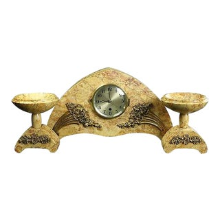 French Art Deco Marble Mantle Clock Set With Garnitures - 3 Pieces For Sale