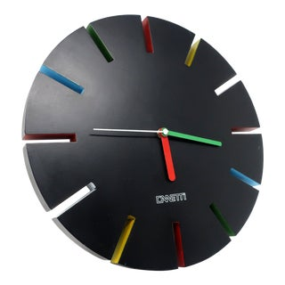 1980s Postmodern Black Canetti Wall Clock For Sale