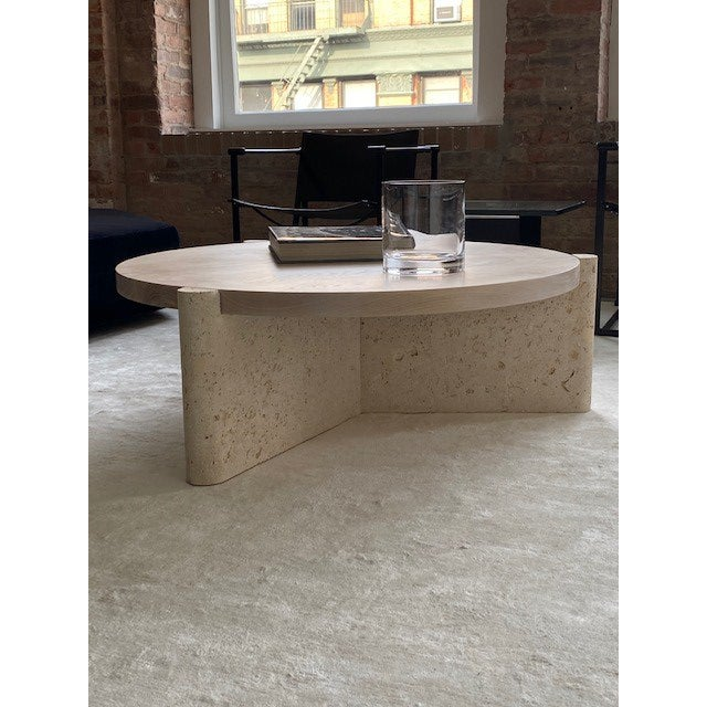 Modern Limestone and Wood Coffee Table For Sale - Image 4 of 7