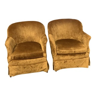 Vintage Velvet Curved Back Armchairs - a Pair For Sale