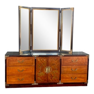 Vintage Chinoiserie Dresser With Tri-Fold Mirror by Bassett Furniture For Sale