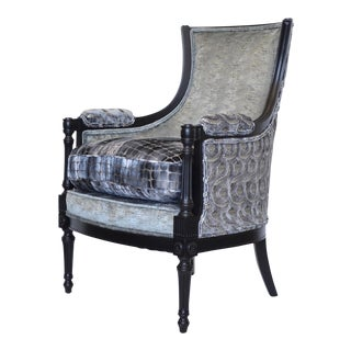 French Regency Gray Suite Upholstered Chair For Sale