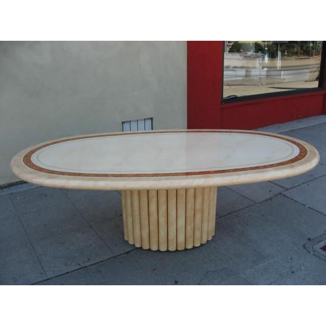 French J.C. Mahey French Faux Marble Dining Table For Sale - Image 3 of 7