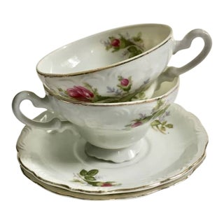 Footed Moss Rose Bone China Tea Cups - a Pair For Sale